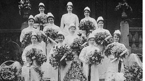 A class of graduating nurses poses outside Wesley Memorial Hospital in Atlanta, later Emory University Hospital, in 1916.