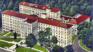 Painting of Emory University Hospital as it appeared in the late 1940s. Artist unknown.