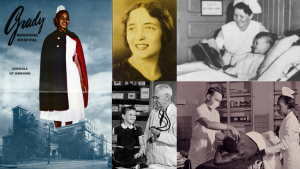 Pictured (L to R, top to bottom): Historical Grady Memorial Hospital promotional ad; Evangeline T. Papageorge; 1950s Grady children's ward nurse and patient; R. Bruce Logue and patient; Grady staff and patient (date unknown)