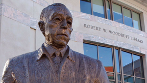 Statue of Robert Woodruff outside the library named for him at Emory University