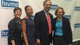 Pictured: Melanie Thompson (former HIVMA board member); Ada Adimora (UNC, former HIVMA chair); Carlos del Rio (current HIVMA chair); and Wendy Armstrong (HIVMA chair-elect)