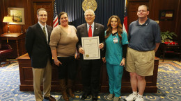 Pictured left to right: Micah Fisher, MD; Linda Santos; Govenor Nathan Deal; Kim Thorpe; and Donald Small