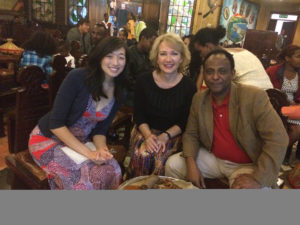 Drs. Sonya Haw, Mary Ellen Sweeney and Ahmed Reja (chief executive director of AAU's College of Health Sciences) and an endocrinologist at a cultural dinner