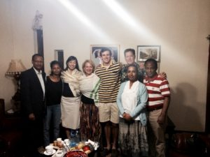 Drs. Abdurazek Ahmed, Helen Yifter (the first AAU endocrine fellows), Sonya Haw, and Mary Ellen Sweeney with son Joseph and Husband Ed Gogol, and Dr. Ahmed Reja with his wife at a farewell dinner hosted by Dr. Reja